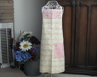 Bib Apron in Pink and Gold Print with Vintage Pink and Brown Tablecloth and Lace Pieces