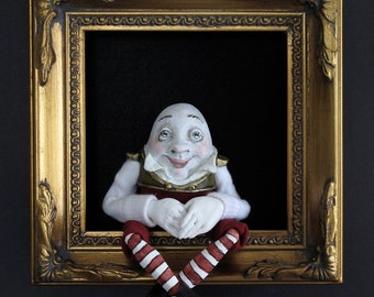 Humpty Dumpty--sculpted figure/doll in shadowbox