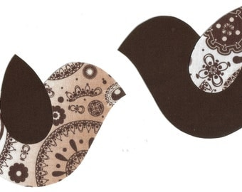 Set of 2 Brown Birds Fabric Iron on Appliques