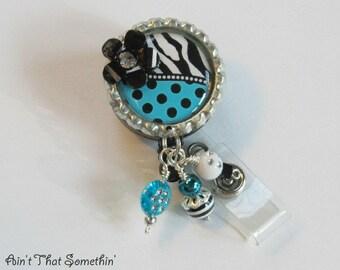 Turquoise Dots N' Zebras Retractable Badge Reel - Fun Badge Clip - Unique ID Holder - Designer Badge Pull - Cute Badge Reel - Diva ID Holder