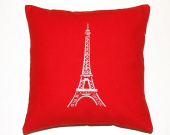 Silver Paris Eiffel Tower Printed on Red Canvas Cotton Pillow cover - More Sizes Avalaible