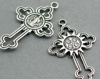 Cross Charms Antique Silver tone 4pcs base metal beads 24X38mm CM0272S