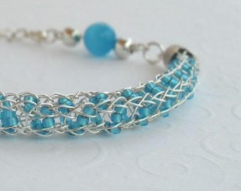 Viking Knit Rope Seed Bead Bracelet Sky Blue Silver Plated Woven Wire Wrapped Jewelry Handmade Beaded Knitted Everyday Handcrafted Elegant