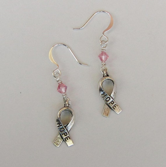 Breast Cancer Awareness - There is Hope - Or Choose your Color for other Awareness - Pink Swarovski Crystal Dangle Earrings