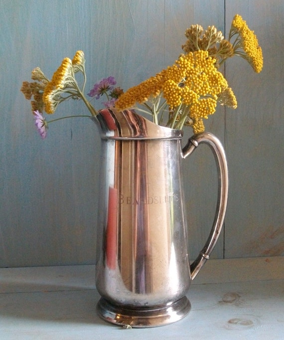 SUMMER SALE--Vintage Silverplate Pitcher Hotel Stainless Steel