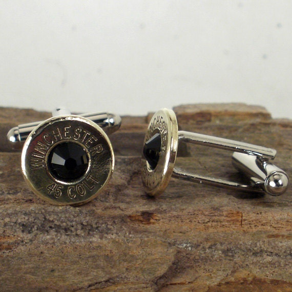 Bullet jewelry Colt 45 Cufflinks  - Winchester - Black Crystal