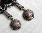 Vintage Sparkly Marcasite and Pink Gemstone Pierced Earrings / Sterling Silver 925