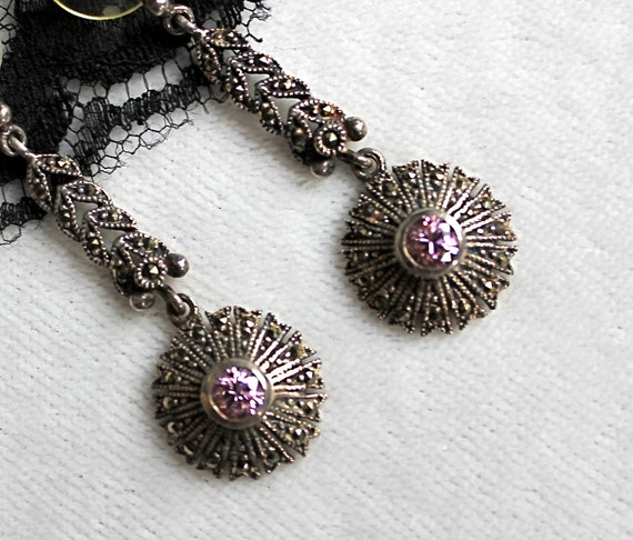 Vintage Art Deco Sparkly Marcasite and Pink Gemstone Pierced Earrings / Sterling Silver 925