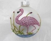 Pink Flamingo Glitter Ornament - Florida Christmas Flamingo on White Glass Ball