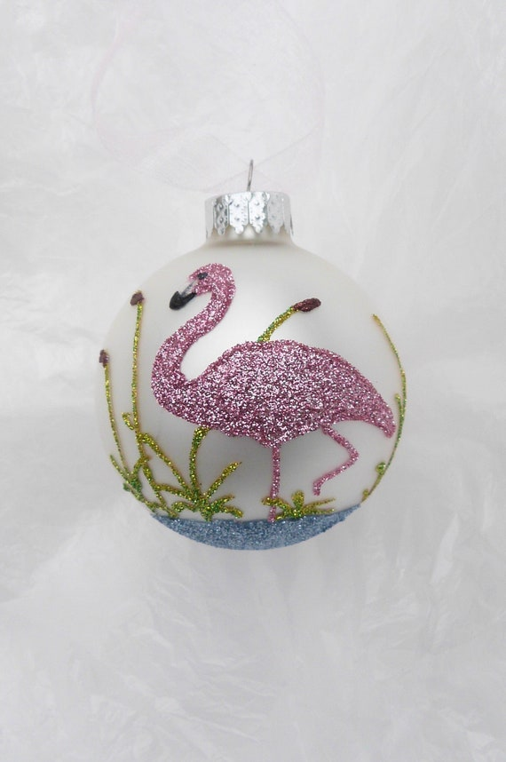 Pink Flamingo Glitter Ornament Florida by GlitterOrnaments