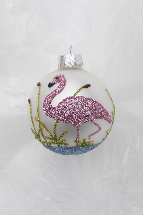 Pink Flamingo Glitter Ornament - Florida Christmas Flamingo on White Glass Ball