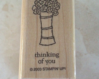 Vase of Flowers and Thinking of You Two-In-One  Rubber Stamp  Stampin' UP Rubber Stamp