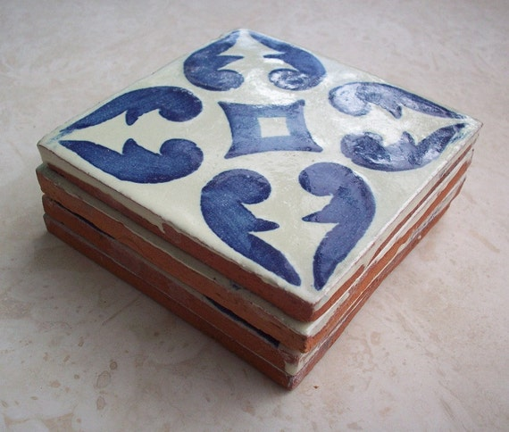 Vintage Terra Cotta Tile Made in Mexico and Painted in Cobalt Blue and Cream Patterned 4x4  Set of 4 Tiles