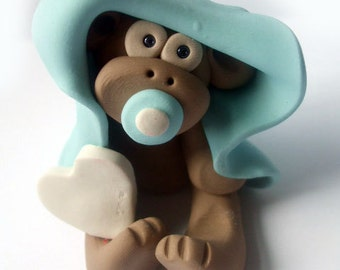 Polymer clay Christmas Ornament, Christmas blue baby monkey with blanket, 2017 keepsake, handmade gift, debbies clay babies