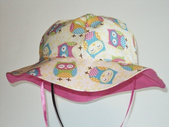 Sweet Owl Baby Sun Hat - Toddler Sun Hat - Baby Girl Sun Hat - Made To Order in Sizes Newborn to 7 years -  Girl Suns Hat - Summer Hat