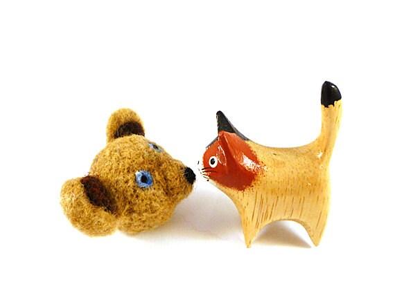 Beige Teddy Bear Wool Catnip Cat Toy