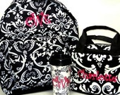 Personalized With Embroidery 3 Piece Canvas Damask Print School Backpack Set