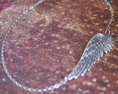 Sideways Angel Wing Necklace -OFF CENTERED GORGEOUS Pendant- Perfect Friend,Sister, Daughter, Mother Gift 'Inspire Me' by RevelleRoseJewelr