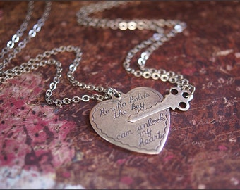 Boyfriend, Girlfriend Jewelry, He Who Holds the Key, HEART KEY NECKLACE, Heart Key Jewelry, Key To My Heart Necklace Silver Heart Necklace