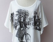 LAST ONE Audrey Hepburn Sabrina - Women Tank Top Oversized Shirt Batwing in CREAM