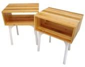 SALE Repurposed Barn Floor Matching Side Tables