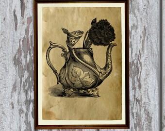 Vintage decoration Teapot print Antique home decor AK263