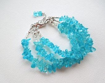 Blue Glass Bracelet, Clear Glass Bracelet, Pink Glass Bracelet, Purple Glass Bracelet,  Multi Strand, Store Closing, Liquidation Sale