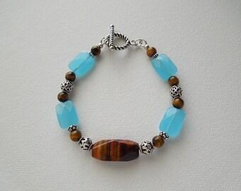 Tiger Eye Bracelet, Tiger Eye Jewelry, Brown and Blue, Blue Glass Bracelet