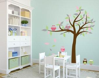 wall decals - Tree decal - Vinyl tree - Owl tree decal - Nursery tree