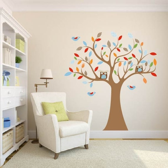 children wall decal for nursery-Vinyl tree decal-Owl tree decal