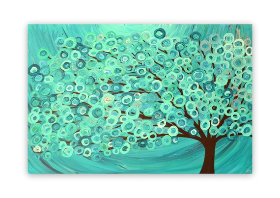 Turquoise Abstract Tree Painting