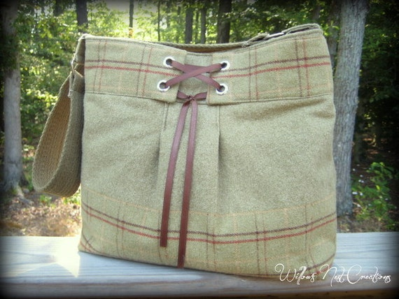"""Olive Green and Brown Handmade Purse """"Straight Laced"""" in Highland Style"""