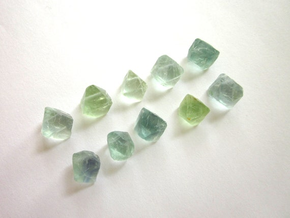 Fluorite Octahedrons Blue Green Natural Raw Rough Bulk Lot of 10 Stones 12-14mm (Lot No. 925)