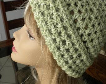 Crochet Hat Green Handmade Beanie Winter Fall