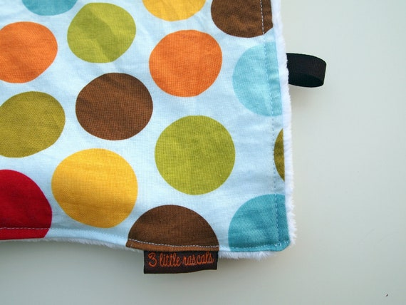 baby blanket minky polka dot blue multicolor