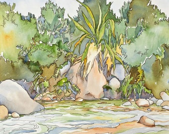 New Zealand Riverside reflections -- Small Print of tropical oasis with spectacular flax in colorful foliage.