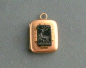 Antique Victorian Deer Locket. Jet Stag & Fawn.
