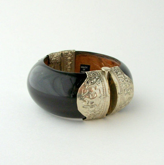 Vintage Horn Bangle Bracelet. Chunky Clamper.  Wood & Stamped Silver.