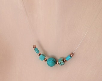 Illusion Necklace WEE WISP/ Turquoise and Copper