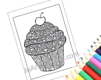 Zentangle Inspired Printable Cupcake Coloring Page, Zendoodle Page 3