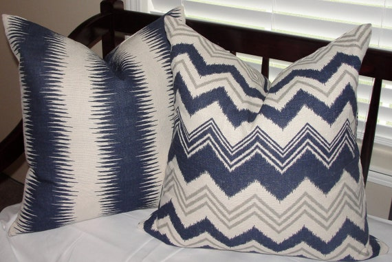 "LAST SET AVAILABLE Set of 2 Decorative Designer Throw Pillow Covers Zazzle Nina Ikat Stripes and Chevron 20""x20"" Navy Blue Birch Gray Cream"