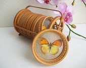 BUTTERFLY COASTERS glass & wood with carrying basket retro