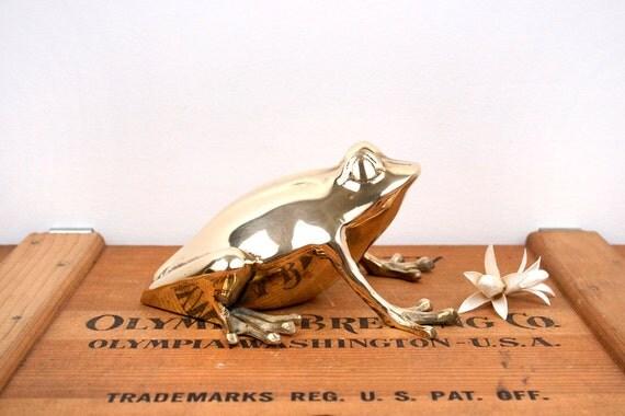 vintage large brass frog figurine