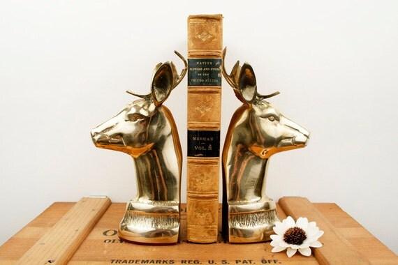RESERVED // vintage brass large deer head bookends