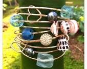 Three ARGENTIUM STERLING SILVER Shell & Pearl Bangles- shell bangles, bangles, pearl bangle, sea glass bangle, beach jewelry, hawaii, kauai