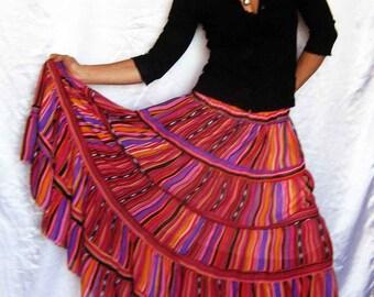 Skirt  Striped Tiered Ruffle Chiffon Urban Boho Hippie Gipsy Elegant  Long Skirt  Plus size