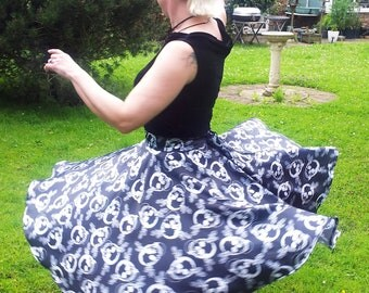 Hand Made Full Circle Poodle Skirt White Skulls on Black Gothic Rockabilly Psychobilly