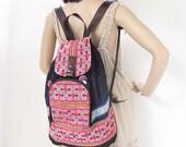 Vintage Backpack Book Bag Handmade HMONG Genuine Leather Straps Thailand (BG048L.803)