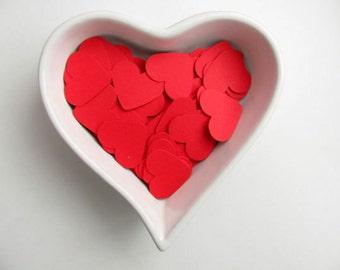 Confetti - 200 CARDBOARD hearts - Red - Wedding - Baby shower - Flavors - Spring - Summer - Elegant - Decoration - Love