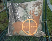 "Camouflage, Deer on Crosshairs, Accent Pillow Cover, Man Cave Pillow Cover, 16"" x 16"""